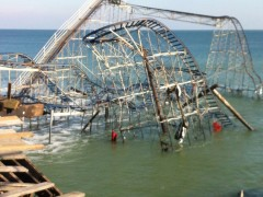 The Jet Star roller coaster in the ocean off a battered Casino Pier following Superstorm Sandy. (Photo: Daniel Nee)