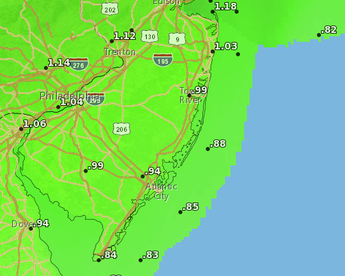 About an inch of rain is forecast by Tuesday afternoon, according to the National Weather Service. (Credit: NWS)