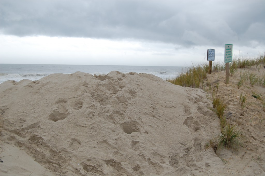 Beach entrances blocked off by a sand berm in Lavallette, Sept. 30, 2015. (Photo: Daniel Nee)