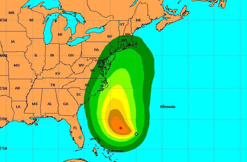 T.D. 11's percentage threat of tropical storm force winds within 120 hours from Monday afternoon. (Credit: NHC)