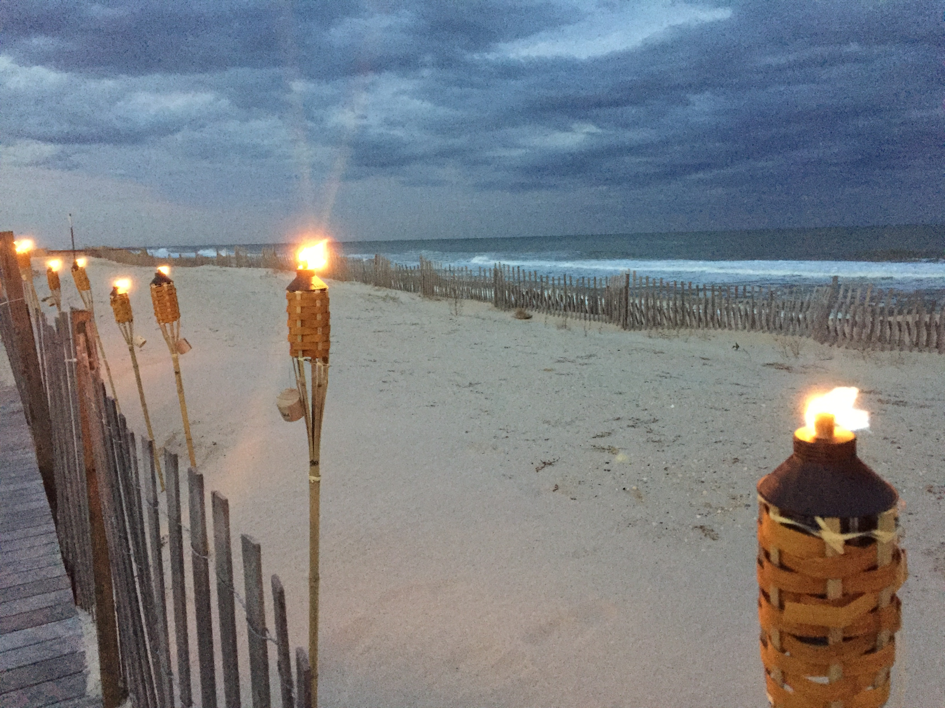 Tiki torches along the Ortley Beach oceanfront. (Photo: Daniel Nee)