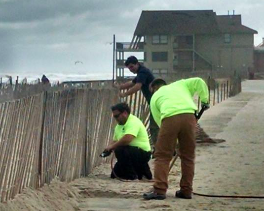 Crews work on repairs at Ortley Beach following a nor'easter. (Photo: Toms River Twp.)
