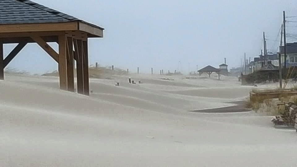 A sand-covered Lavallette boardwalk. (Photo: Denise Wirth)