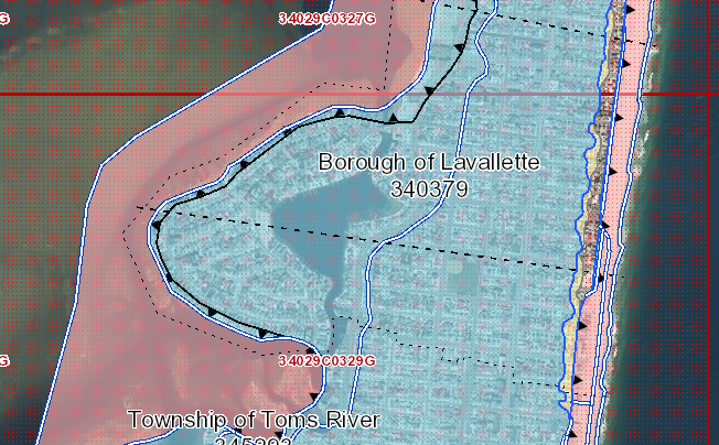 FEMA's flood map for Lavallette. (Credit: FEMA)