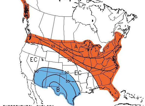 The 3-4 week trend from the NWS. (Credit: NWS)
