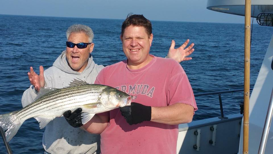 Customers on board the Queen Mary out of Point Pleasant Beach hooked up with stripers and blues this week. (Photo: Queen Mary)