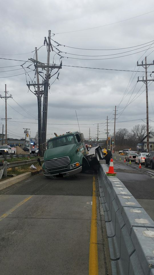 A truck involved in an accident on the Route 37 bridge. (Submitted Photo)