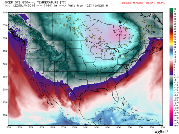 Cooler air from Canada will begin to plunge south on Monday. (Photo: NWS)