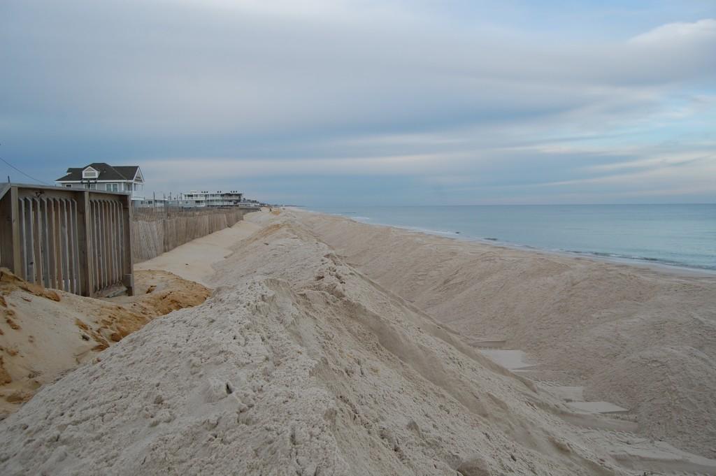Berms built on the Ortley Beach oceanfront ahead of an upcoming nor'easter. (Photo: Daniel Nee)