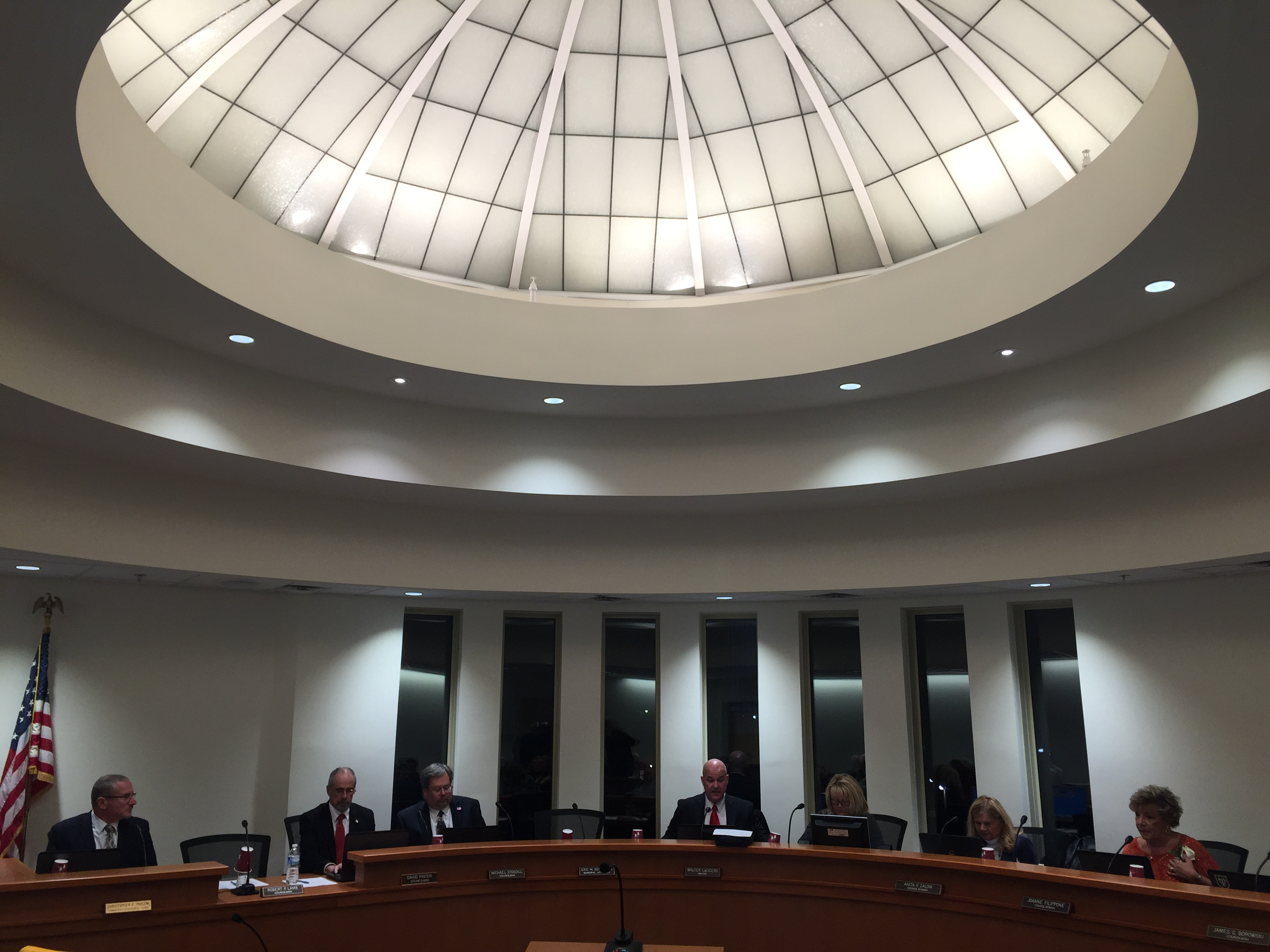 The Lavallette council's 2016 reorganizational meeting gets underway in the borough's new municipal complex. (Photo: Daniel Nee)