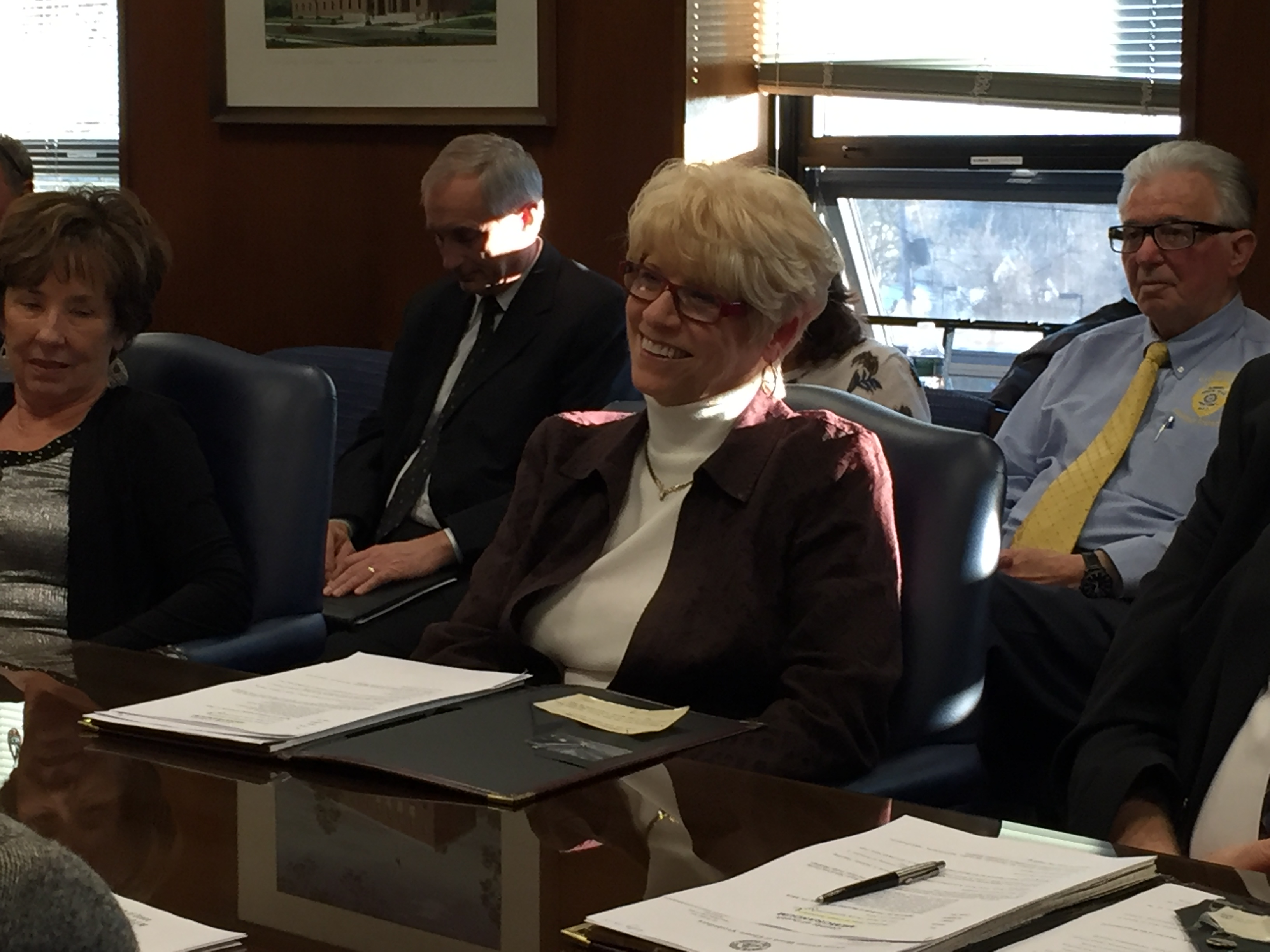 "Virginia ""Ginny"" Haines (center) at her first freeholder meeting, Jan. 27, 2016. (Photo: Daniel Nee)"