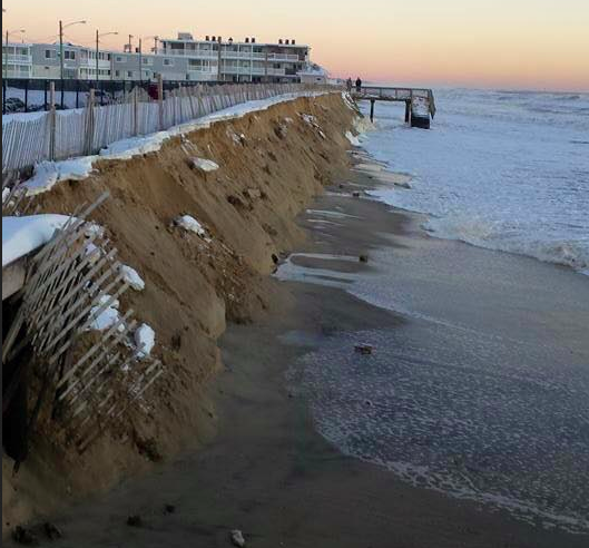 What's left of a makeshift dune in Ortley Beach. (Photo: Ocean County Sheriff's Dept.)