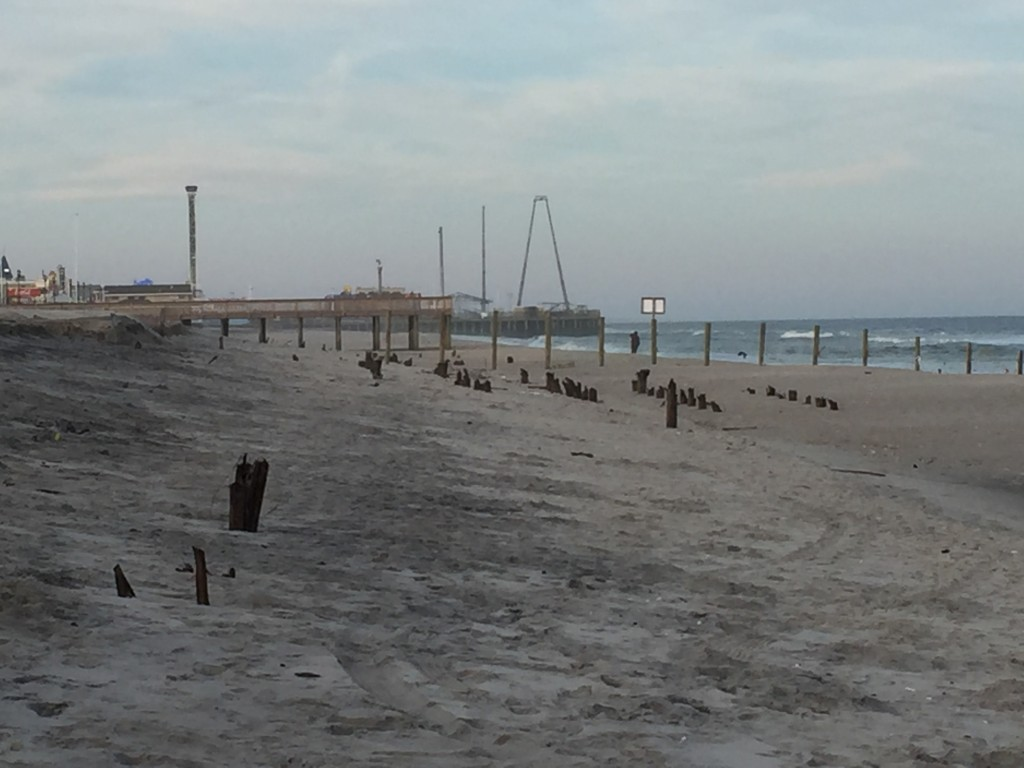 Debris and erosion at the site of the former Funtown Pier in Seaside Park and Seaside Heights. (Photo: Daniel Nee)