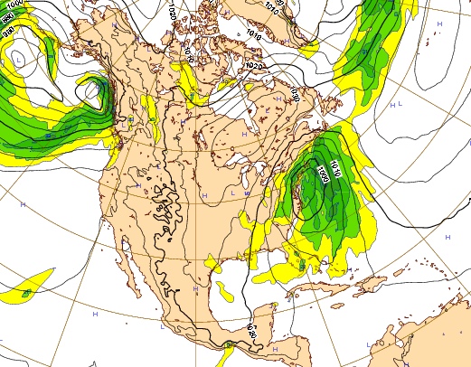 The EURO forecast model, showing a storm system off the east coast Tuesday and into Wednesday of next week. (Credit: ECMWF)