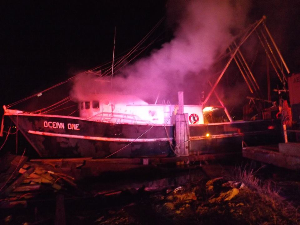 The Ocean One burns at a commercial dock in Point Pleasant Beach. (Photo: Barnegat Bay Island/Facebook)
