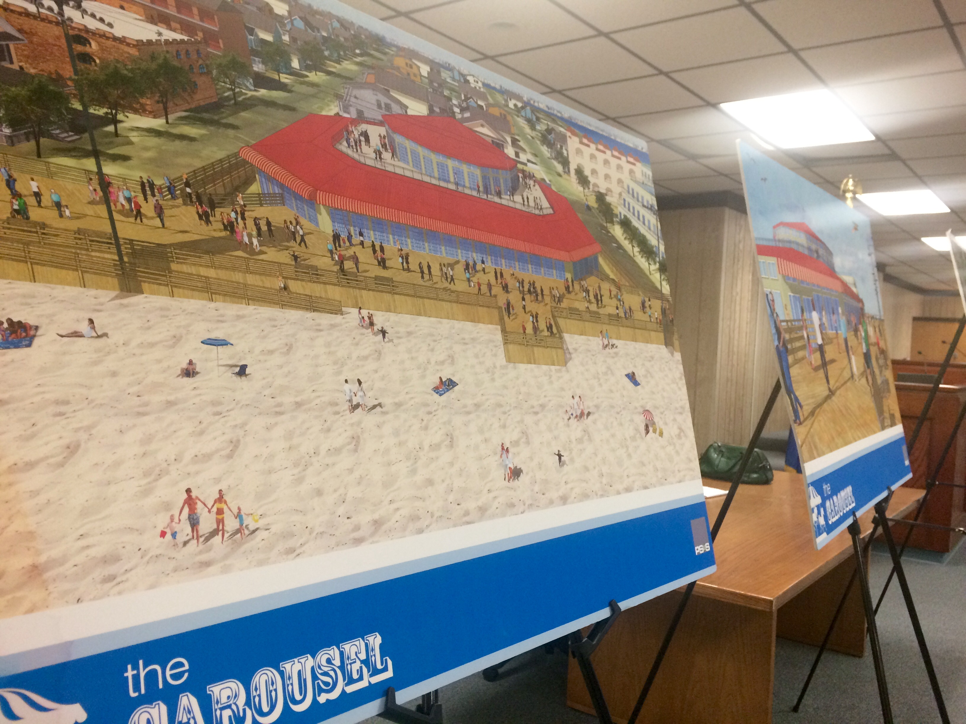 Plans on display during the March 22 hearing of a proposed beachfront land swap between Seaside Heights and Casino Pier