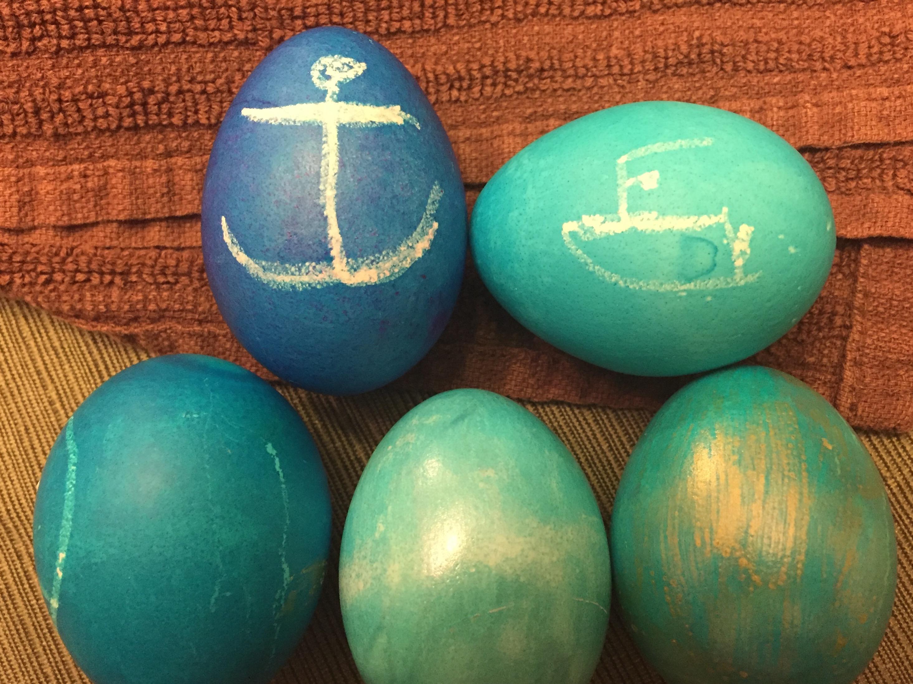 Nautical Easter eggs. (Photo: Daniel Nee)