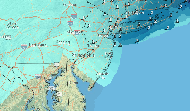 Snowfall accumulation through Sunday night. (Credit: NWS)