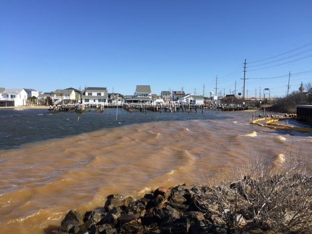 A silt plume in Seaside Park March 29, 2016. (Photo: Save Barnegat Bay)
