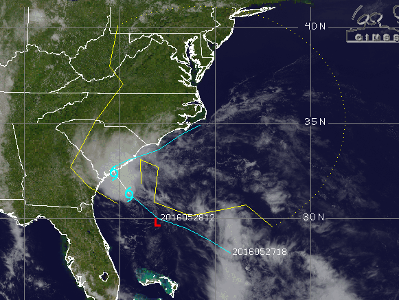 A track of Tropical Depression 2 Saturday, May 28. (Credit: CIMSS/Tropical)