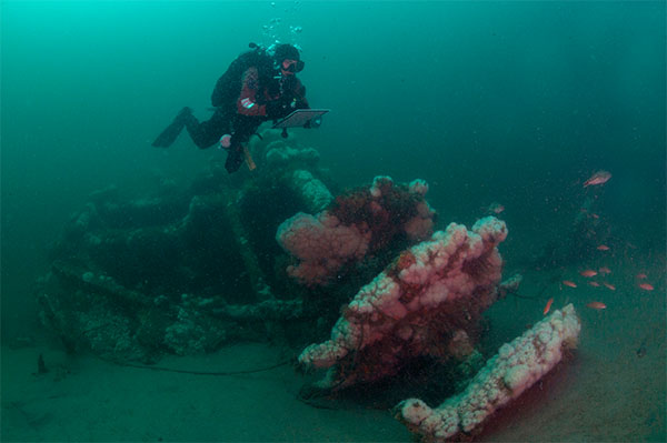 Diver Matt Lawrence hovers over paddlewheel of the Robert J. Walker Shipwreck 10 miles off Atlantic City. (Courtesy: NOAA and Joe Hoyt)
