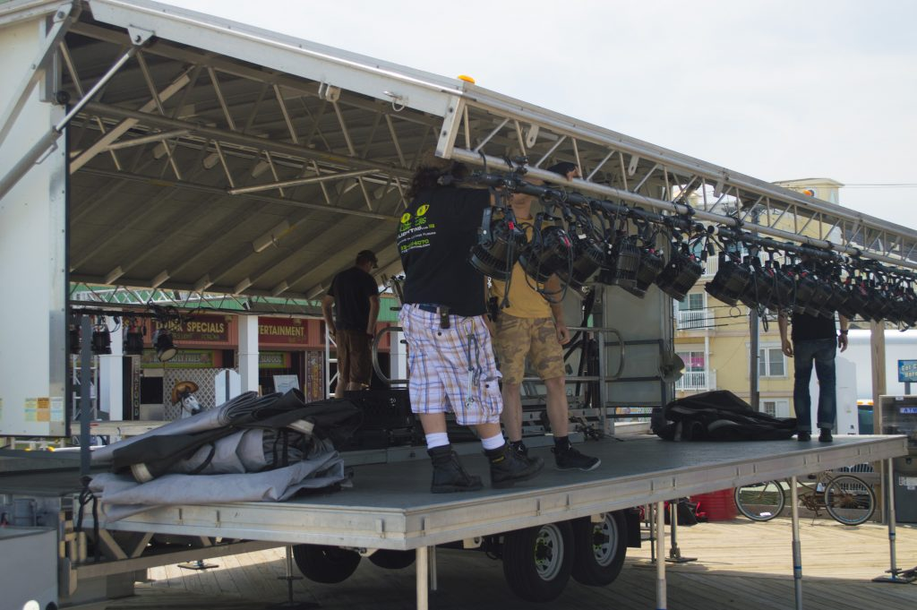 Crews ready a stage for the May 27, 2016 performance by Bret Michaels. (Photo: Daniel Nee)