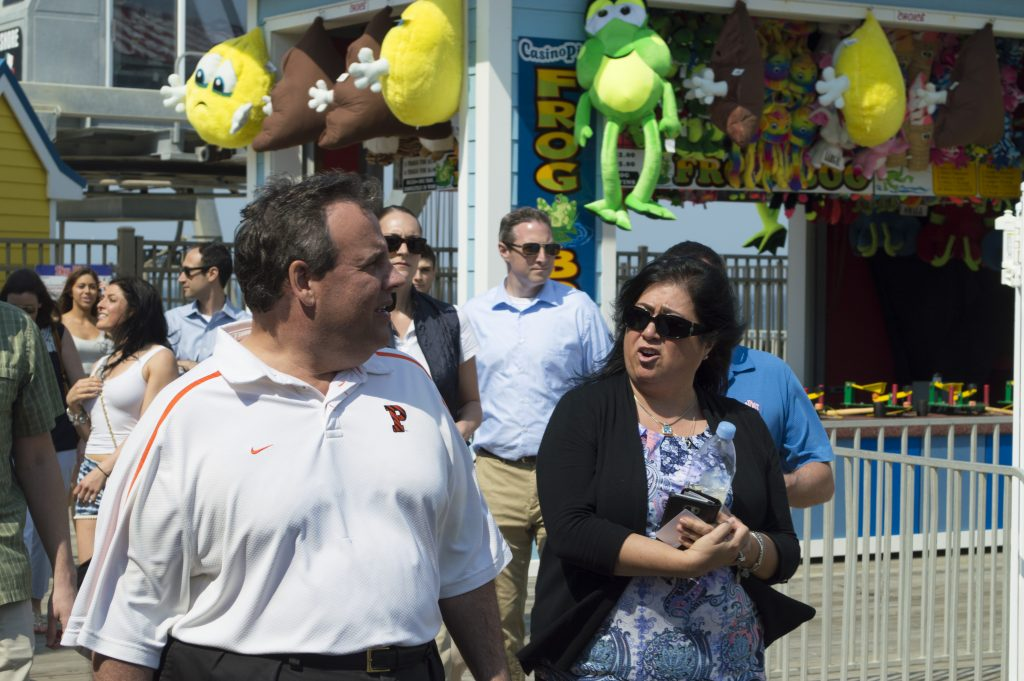 Chris Christie tours the Seaside Heights boardwalk, May 27, 2016. (Photo: Daniel Nee)