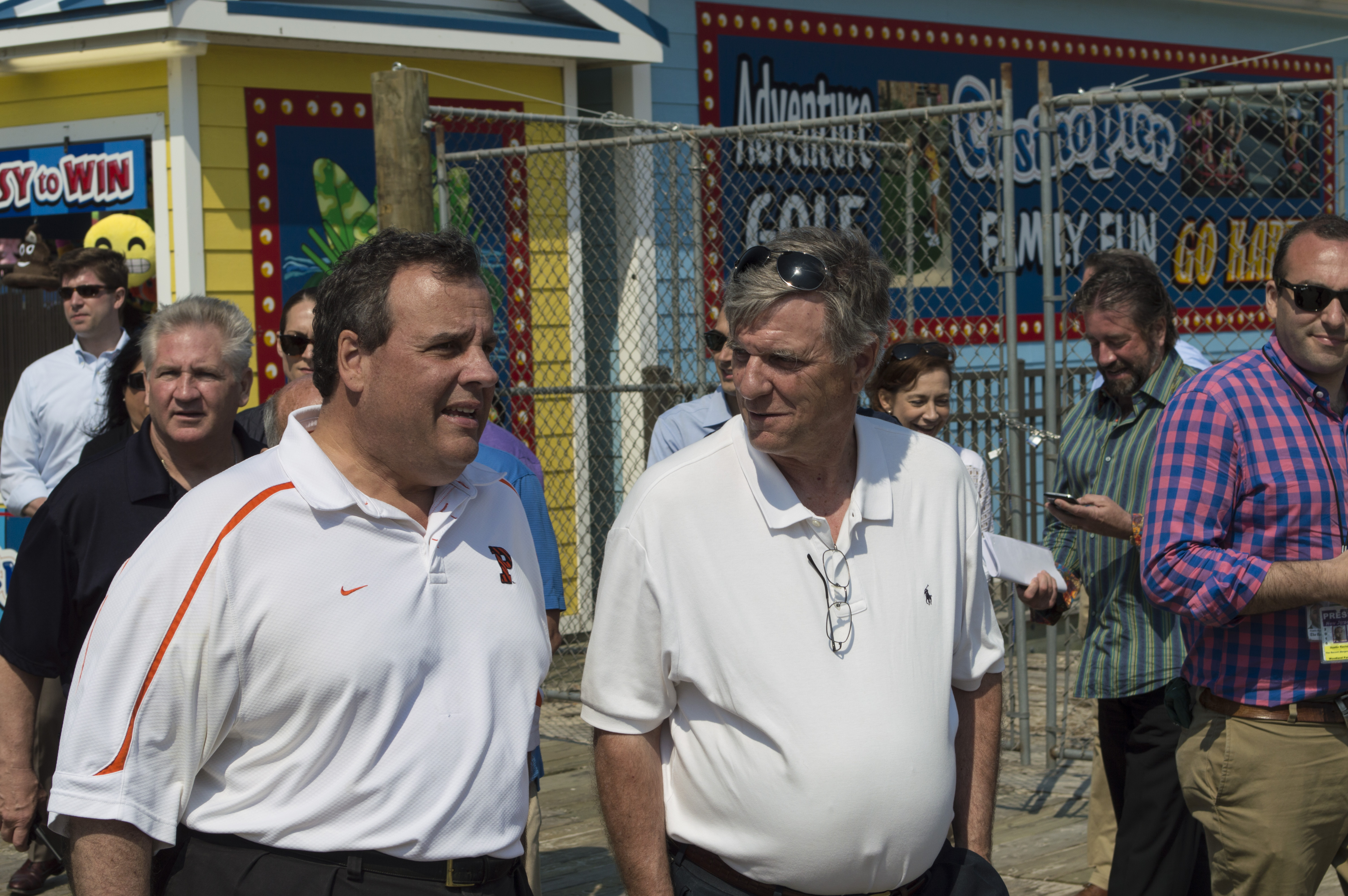 Ocean County GOP Chairman George R. Gilmore walks with Gov. Chris Christie on the Seaside Heights boardwalk. (Photo: Daniel Nee)