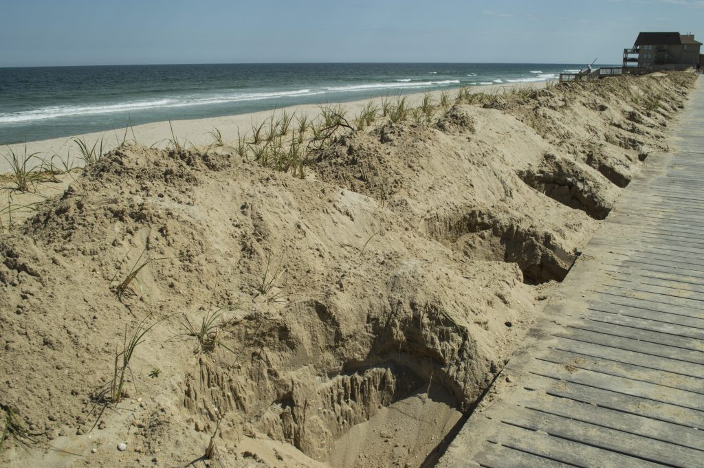 Holes dug in preparation for fence posts to be installed along the Ortley Beach boardwalk. (Photo: Daniel Nee)