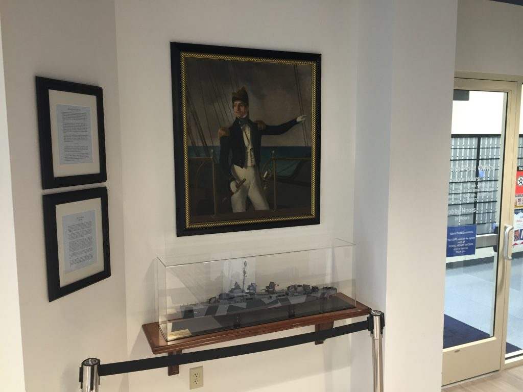 An exhibit dedicated to U. S. Navy Admiral Elie A. F. LaVallette in the Lavallette municipal building. (Photo: Daniel Nee)