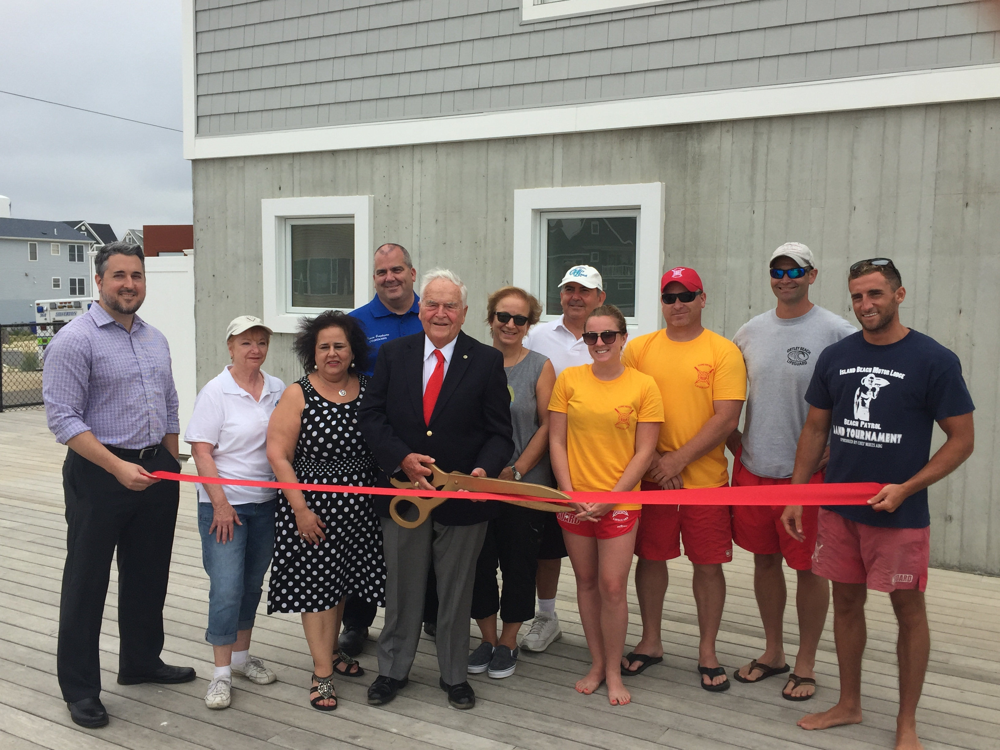 Toms River officials on hand for reopening of the newly-built Block House lifeguard station. (Photo: Daniel Nee)