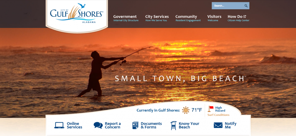 The Gulf Shore, Al. municipal website, designed by the same firm now building a site for Seaside Heights. (File Photo)