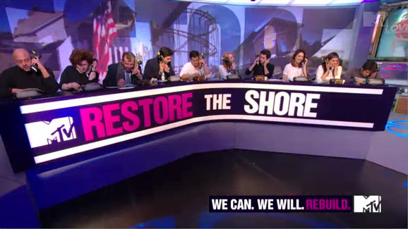 MTV's Restore the Shore telethon, Nov. 15, 2012. (Photo: MTV)