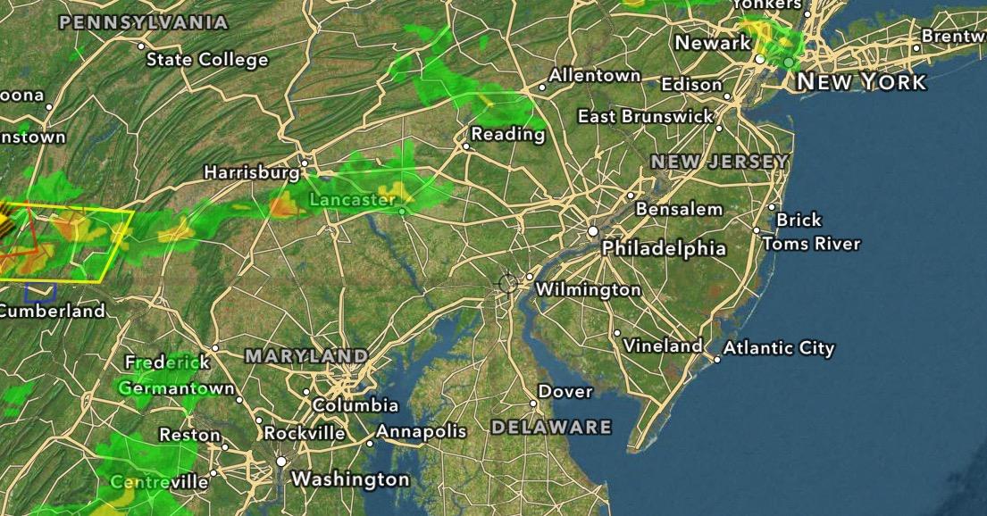 Weather radar at about 7 p.m. Saturday night. (Credit: Hi-Def Radar)