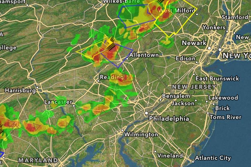 Weather radar as of 2:45 p.m. Monday, July 18. (Credit: High-Def Radar)