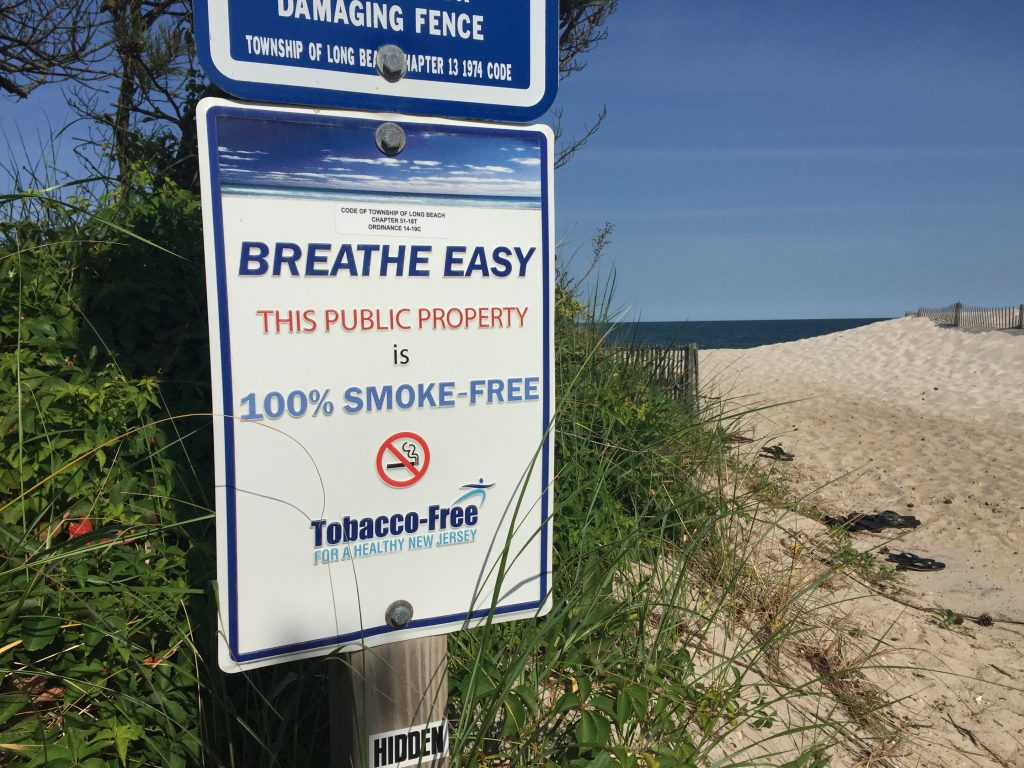 No smoking sign at a local beach.