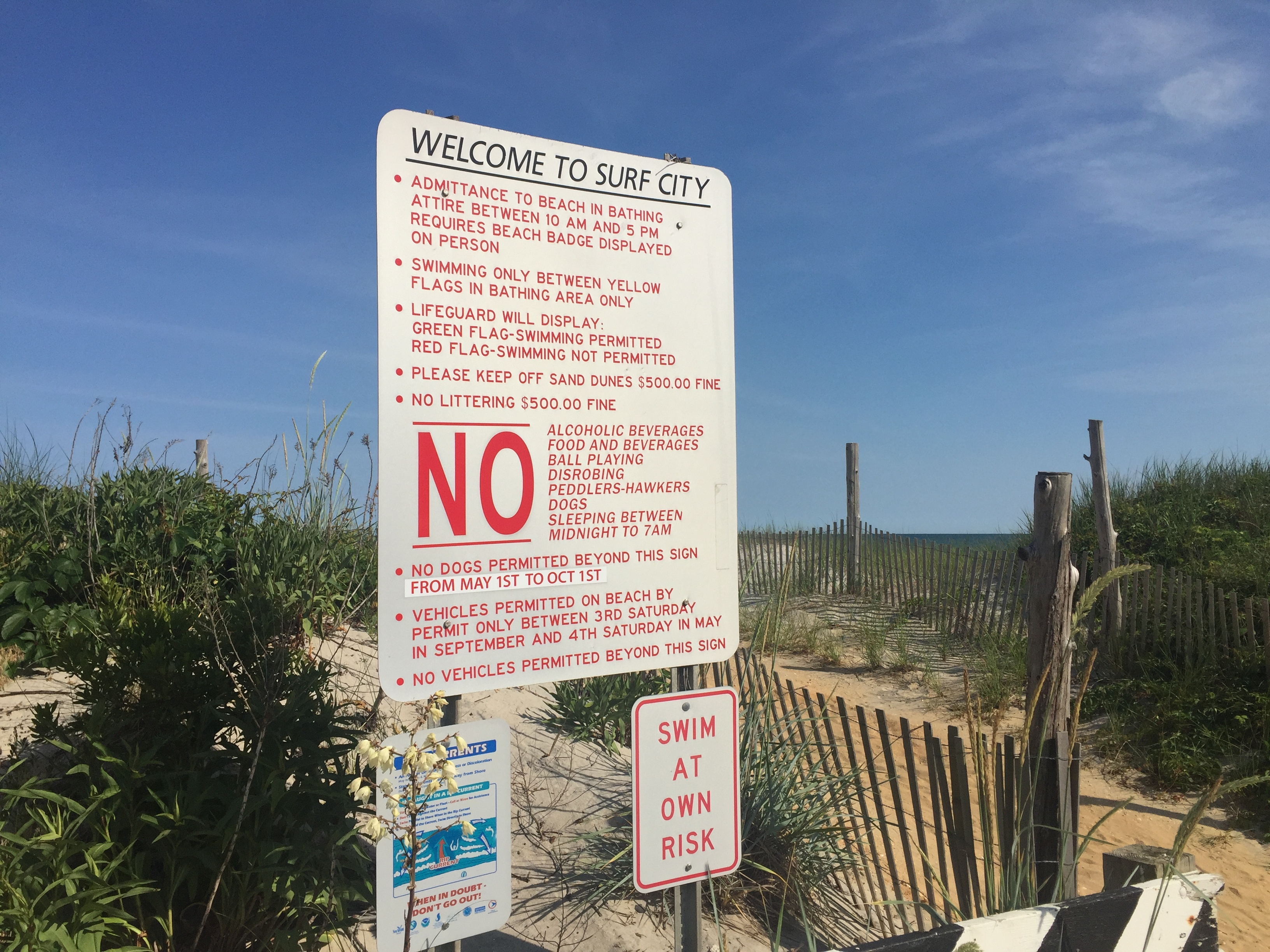 Beach rules in Surf City, NJ. (Photo: Daniel Nee)