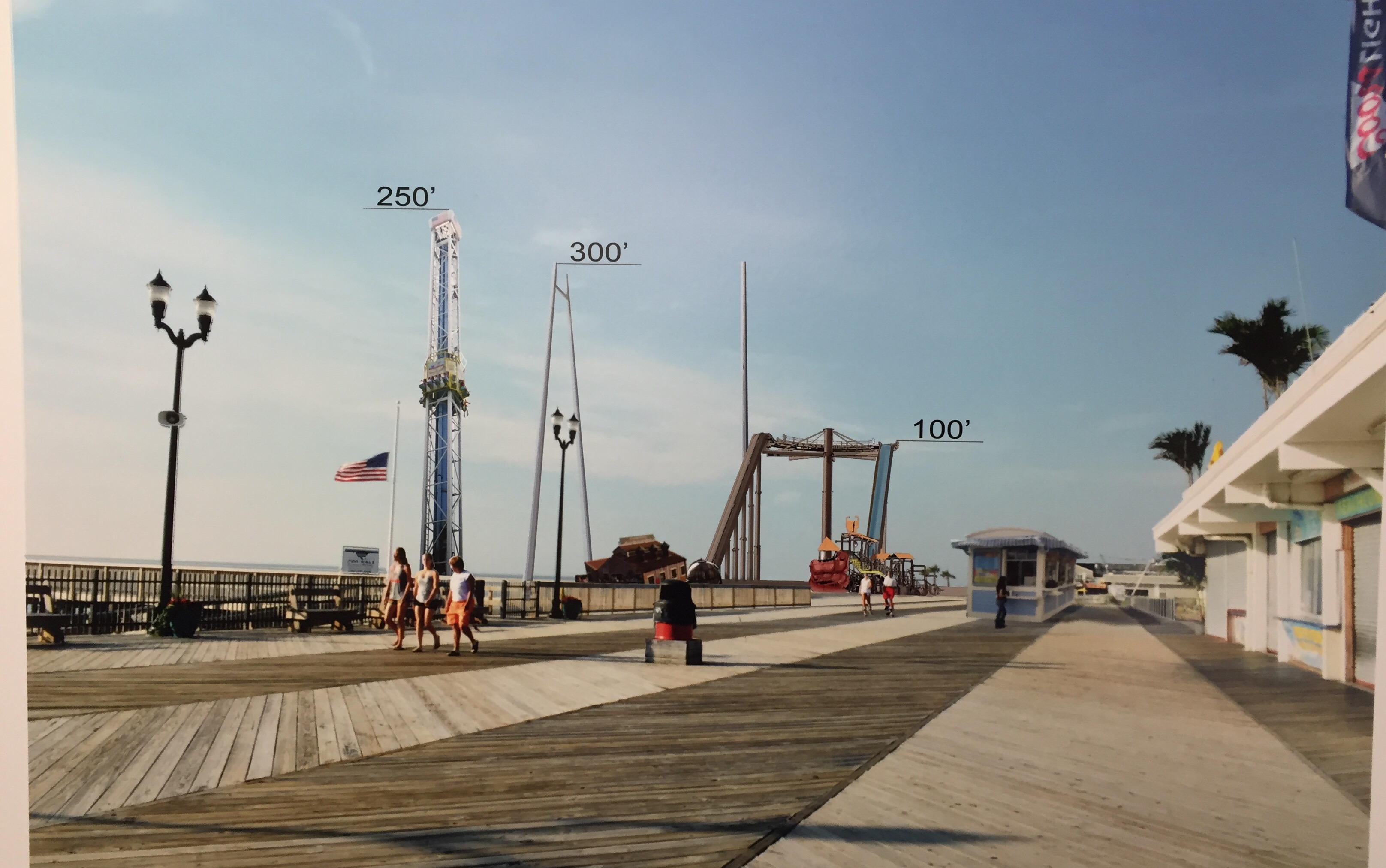 A rendering of a proposed thrill ride park at a rebuilt Funtown Pier, designed by architect Paul Barlo. (Photo: Daniel Nee)