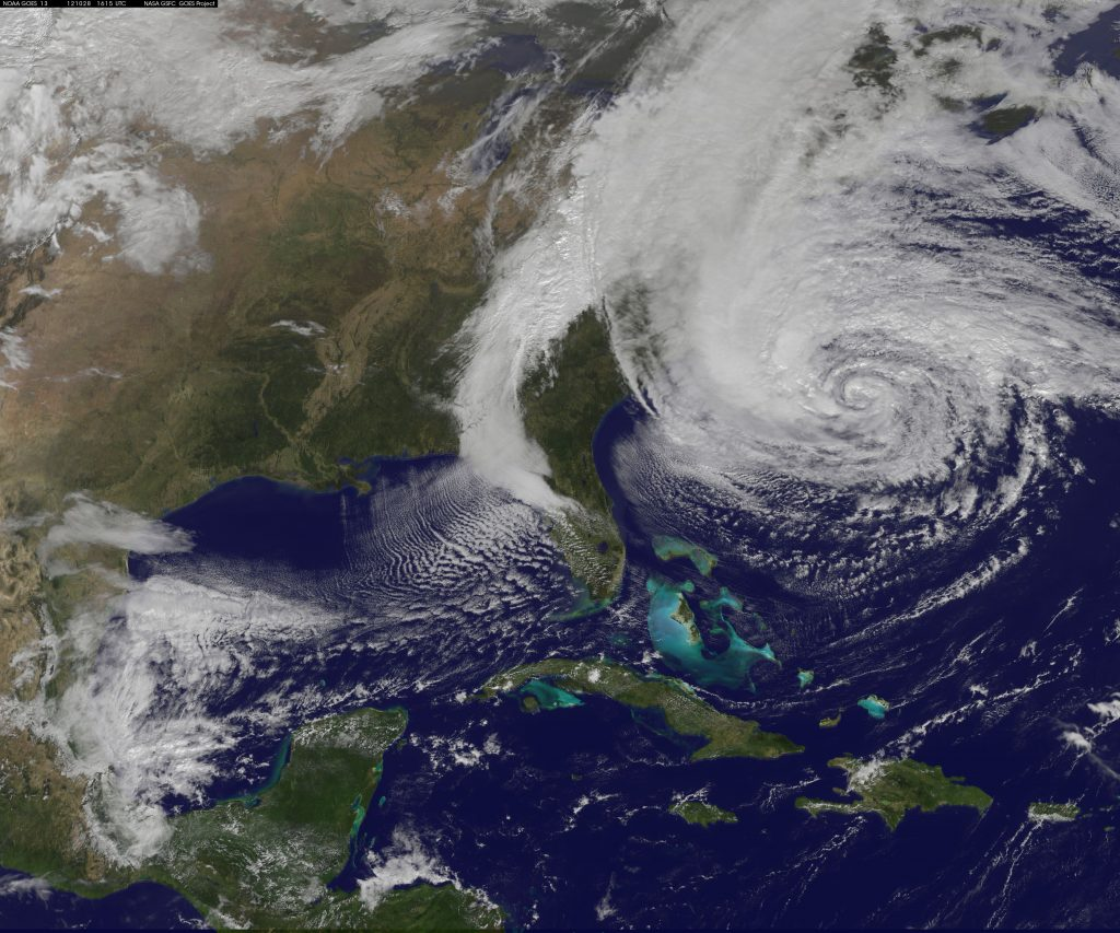 A satellite image of Hurricane Sandy in 2012. (Credit: NASA)