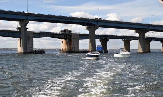 The Thomas A. Mathis and J. Stanley Tunney bridges, carrying Route 37 over Barnegat Bay. (File Photo)