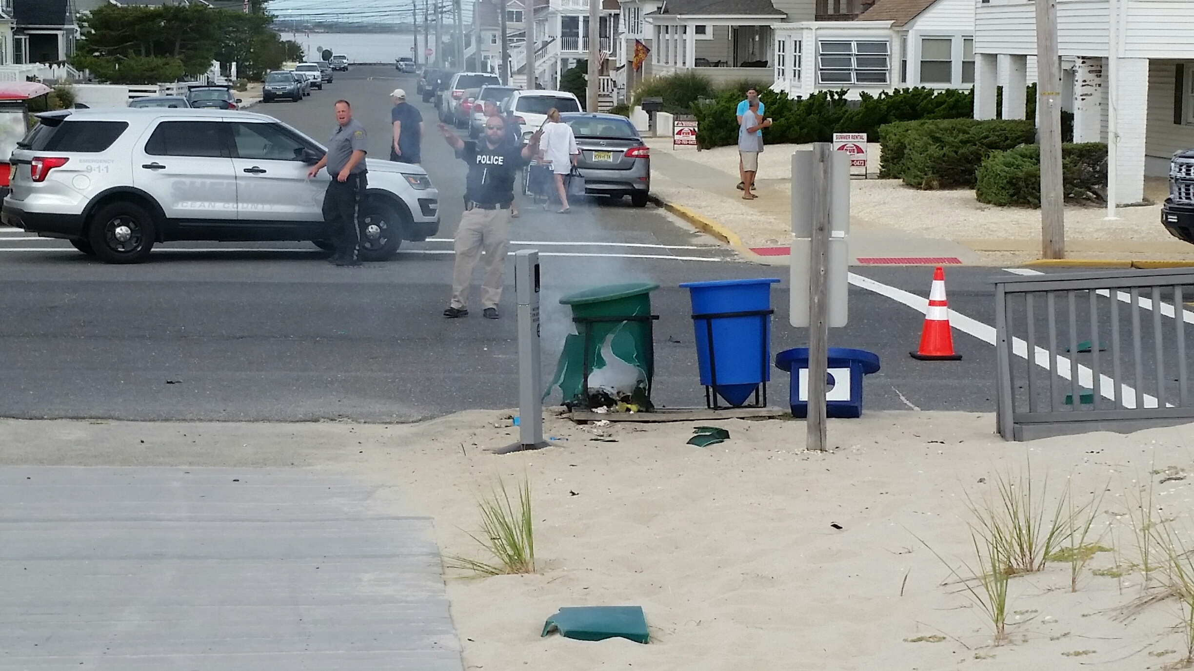 A device smoking near D Street in Seaside Park. (Credit: Amy Costello/Shorebeat Photo)