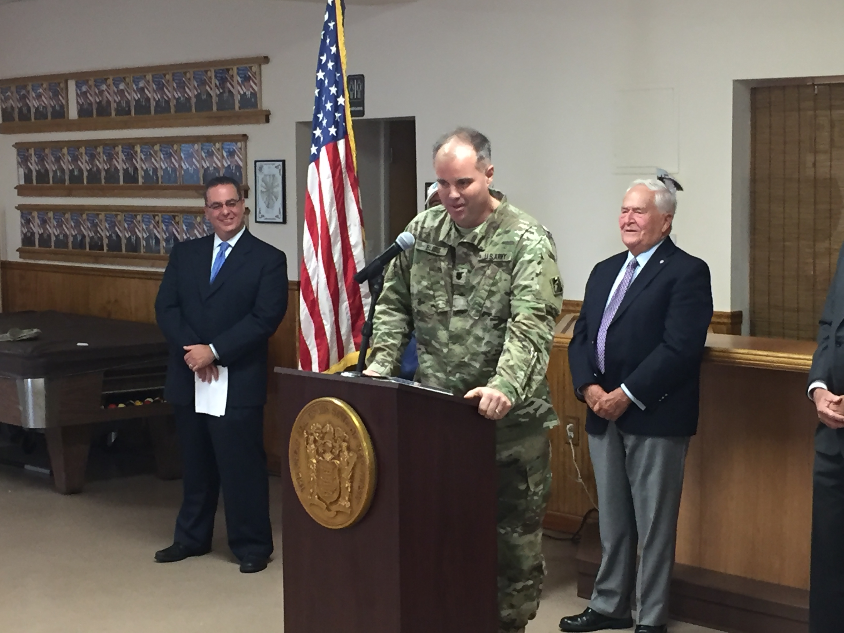 Lt. Colonel Michael Bliss announces the northern barrier island beach replenishment project. (Photo: Daniel Nee)