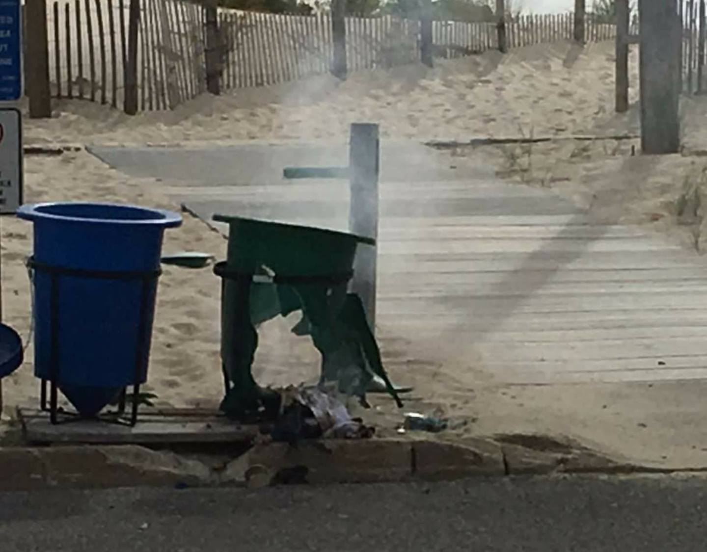 Damage to a garbage can after a bomb exploded in Seaside Park, Sept. 17, 2016. (Photo: Bob Vosseller)