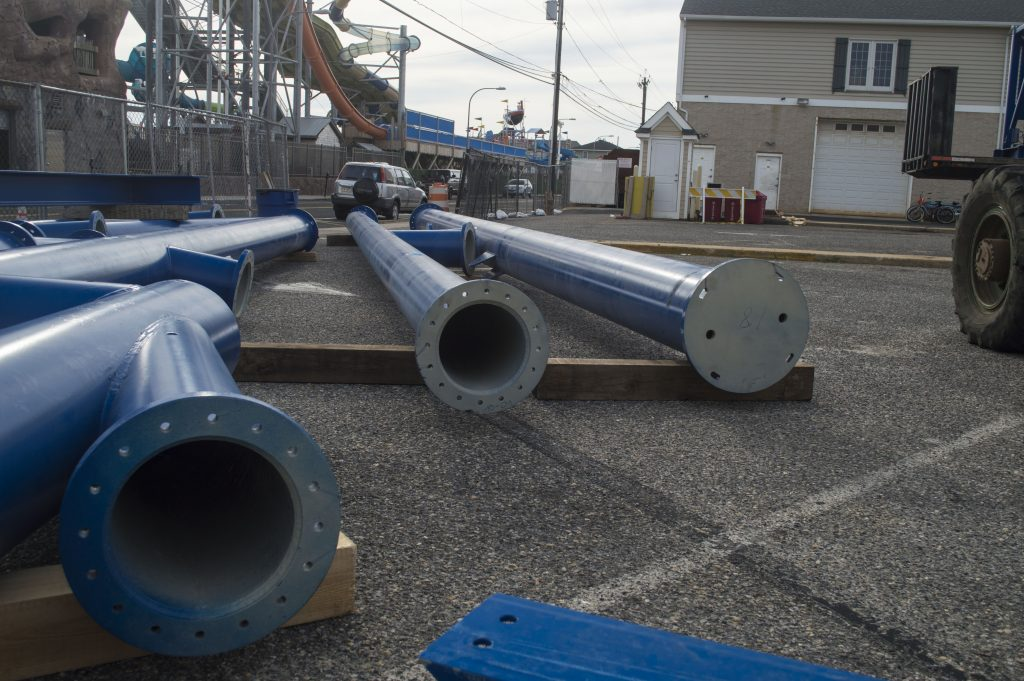 Equipment lined up for an expansion and new rides at Casino Pier in Seaside Heights. (Photo: Daniel Nee)