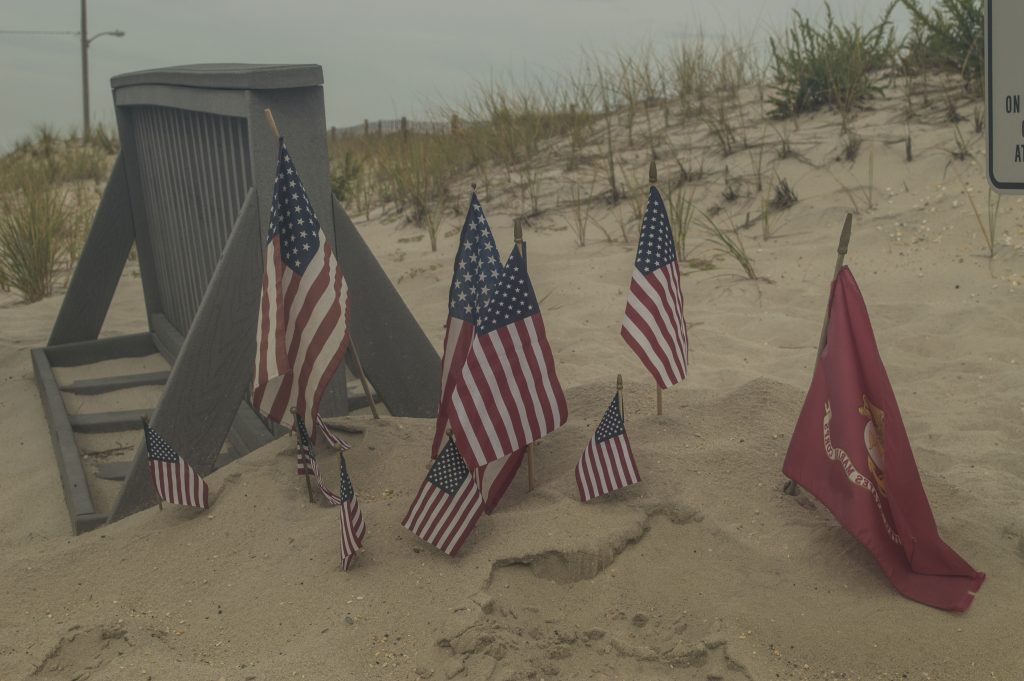 American flags fly at D Street in Seaside Park, where a terrorist bombing occurred. (Photo: Daniel Nee)