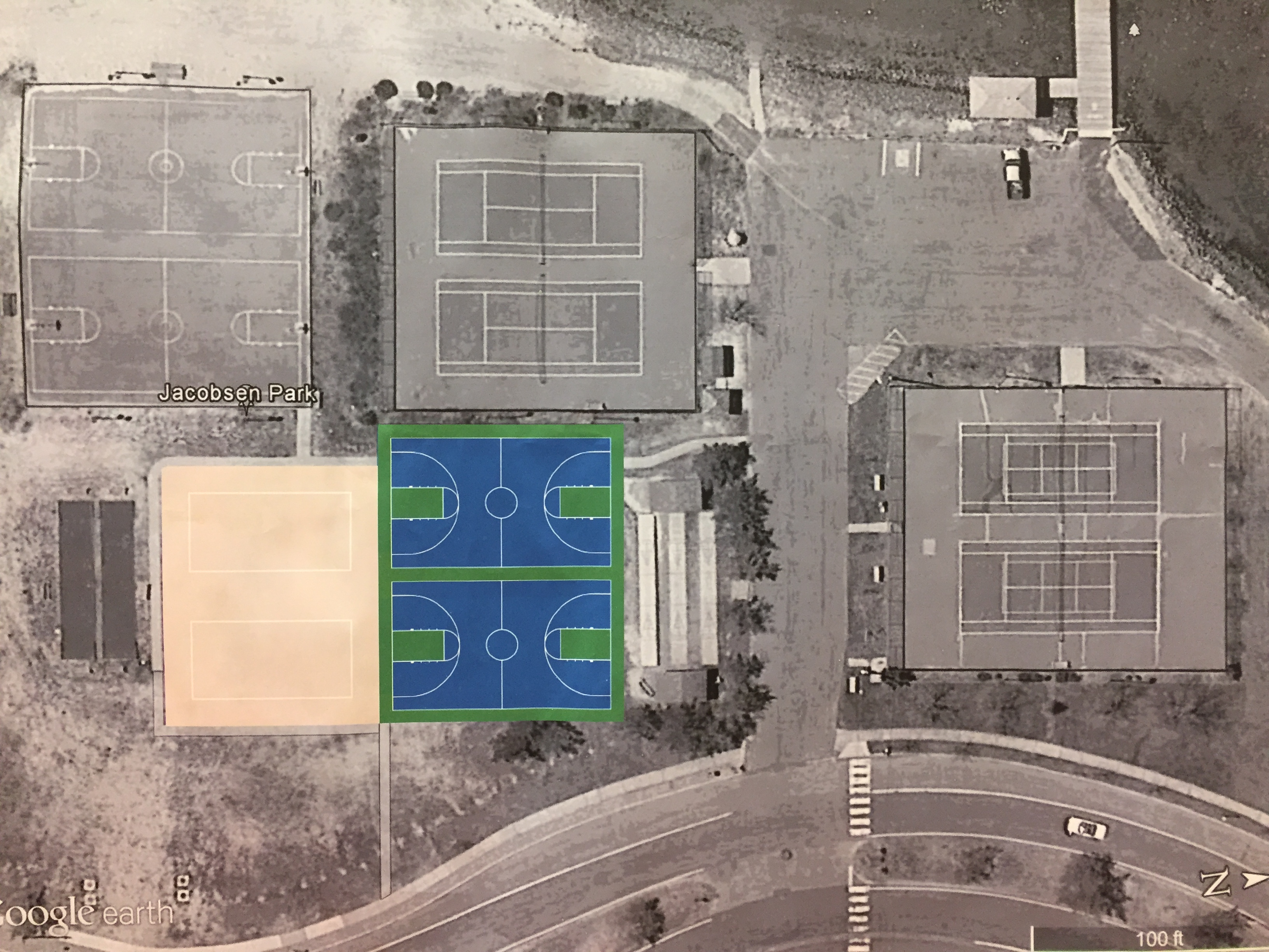 A rendering of what a donated basketball court will look like in Lavallette. (Photo: Daniel Nee)