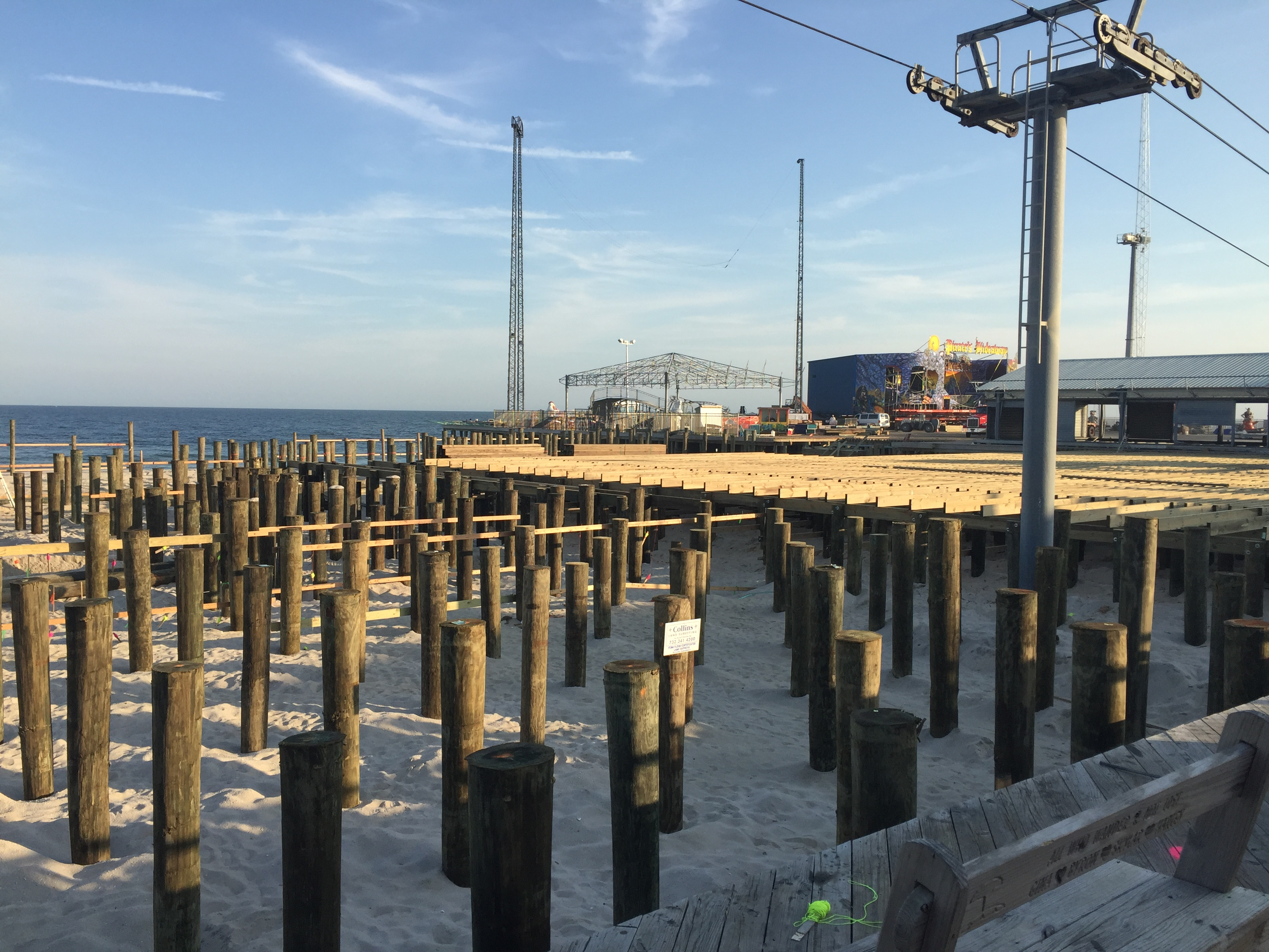Construction on the Casino Pier expansion during the first week of November 2016. (Photo: Daniel Nee)