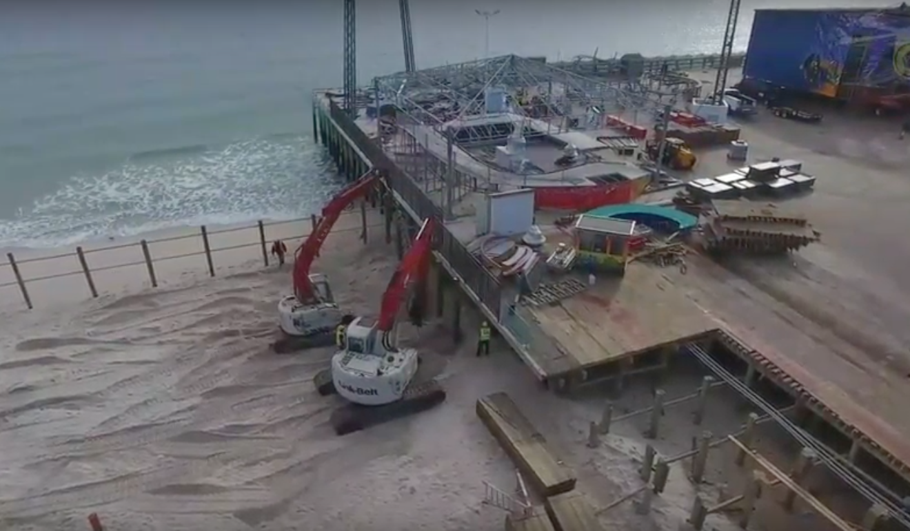 Drone footage from Oct. 29, 2016, showing construction at Casino Pier in Seaside Heights, N.J. (Credit: PR Aerial Video & Photography)