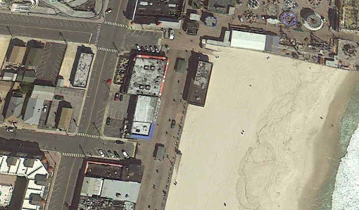 A historic aerial view of the Sand Castle property and kiosks before Superstorm Sandy. (Credit: Google Maps)