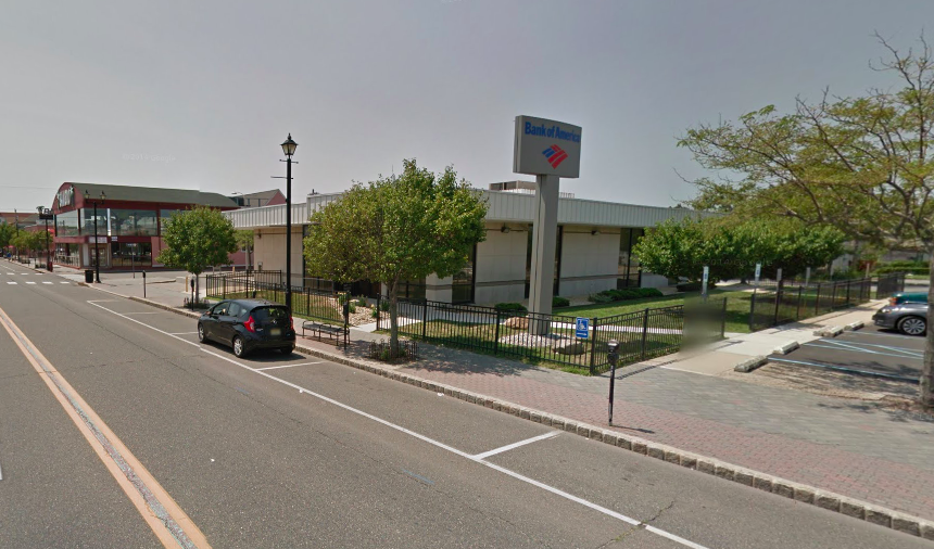 The former Bank of America building in Seaside Heights, where a miniature golf course and arcade is being proposed. (Credit: Google Maps)